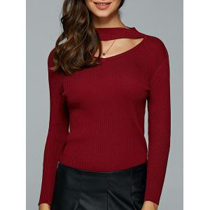 Hollow Out Ribbed Knitted Pullover - Wine Red - M