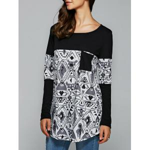 Pocket Tribal Print Long Sleeve T-Shirt