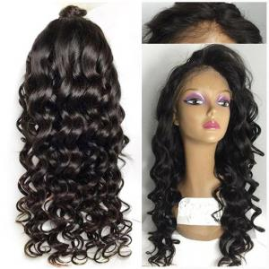 Long Wavy Lace Front High Temperature Fiber Wig - Black