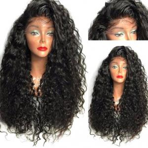 Long Curly Side Parting Lace Front High Temperature Fiber Wig - Black