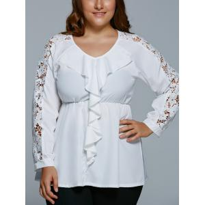 Plus Size Lace Spliced Flounce Blouse