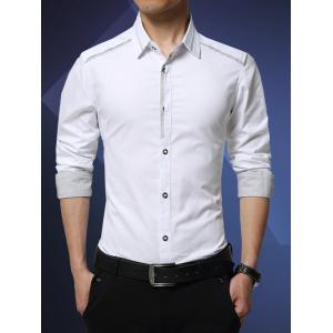 Turn-Down Collar Formal Slim Fit Tuxedo Shirt