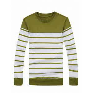 Crew Neck Color Blocked Striped Sweatshirt