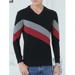 V-Neck Diagonal Striped Color Block Sweatshirt