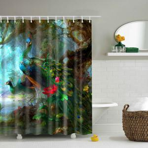 Home Decor Peacock Design Waterproof Shower Curtain