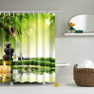 Natural Bamboo Printed Mouldproof Shower Curtain - Colormix - L