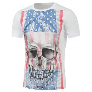 Distressed American Flag 3D Skull Print T-Shirt - White - L