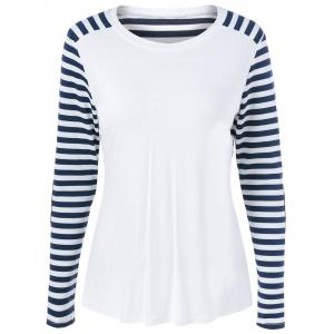 Striped Elbow Sleeve T-Shirt - Blue And White - S