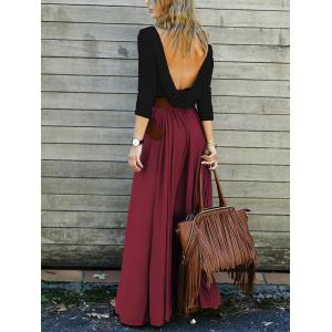 Backless Long Sleeve Maxi Pleated Prom Dress -