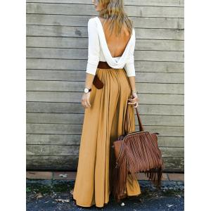 Backless Long Sleeve Maxi Pleated Prom Dress - YELLOW S