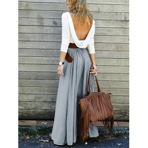 Backless Long Sleeve Maxi Pleated Prom Dress - GRAY XL