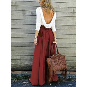 Backless Long Sleeve Maxi Pleated Prom Dress - WINE RED L
