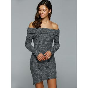 Off-The-Shoulder Heather Asymmetrical Jumper Dress - GRAY XL
