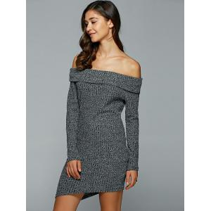 Off-The-Shoulder Heather Asymmetrical Jumper Dress -