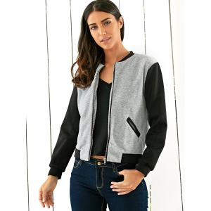 Two Tone Zipper Casual Jacket -
