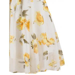 Chiffon Floral Knee Length Belted Flare Dress -