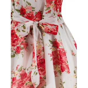 Knee Length Floral Belted Flare Dress -
