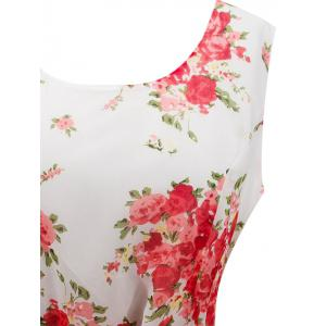 Retro Belted High Waisted Floral Print A Line Dress - WHITE L