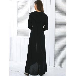 Hooded Maxi Long Duster Cardigan - BLACK XL