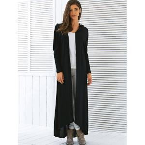 Black Xl Hooded Maxi Long Duster Cardigan | RoseGal.com