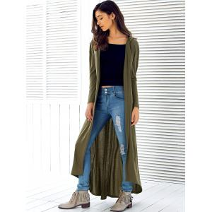 Hooded Maxi Long Duster Cardigan - ARMY GREEN XL