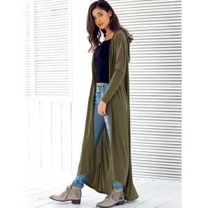 Army Green Xl Hooded Maxi Long Duster Cardigan | RoseGal.com