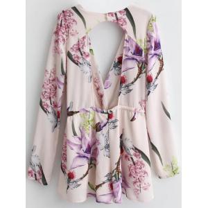 Floral Print Long Sleeve Cut Out Romper - PINK L