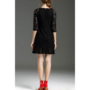 Hollow Out Ruffle Hem Lace Dress - BLACK XL