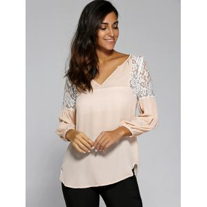 Ruched Sleeve Lace Patchwork Blouse -