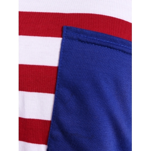 Stripe Front Pocket Fitted Long Sleeve T-Shirt -