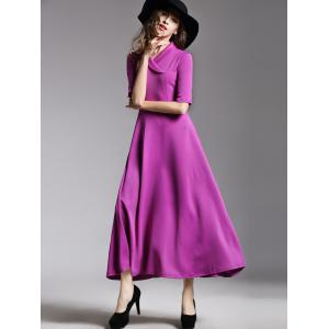 Shawl Collar High Waist Maxi A Line Dress -