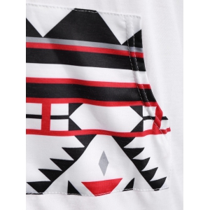 Patchy Sleeve Front Pocket Geometric Hoodie -