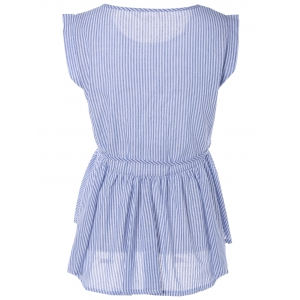 Pinstripe Print Pleated Sleeveless Blouse -
