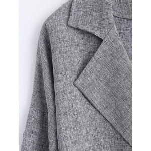 Buttons Pocket Flax Lapel Trench Coat -