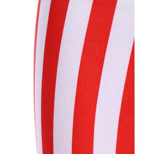 High Waisted Vertical Stripe Star Print Flag Leggings -