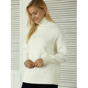 Knitted Pullover Loose-Fitting Sweater - WHITE ONE SIZE