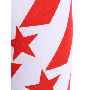 High Waisted Stars and Stripes American Flag Leggings - WHITE ONE SIZE