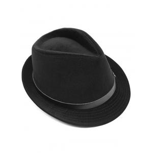 Pure Color Embellished Flanging Pin Buckle Belt Fedora Hat -