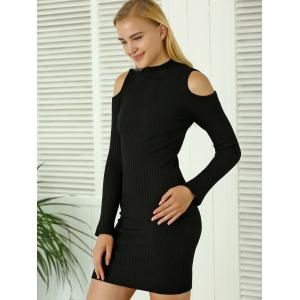 Cold Shoulder Mini Fitted Sweater Dress - BLACK ONE SIZE