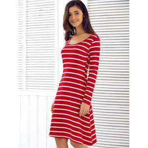 Scoop Neck Long Sleeve Striped Dress - RED XL