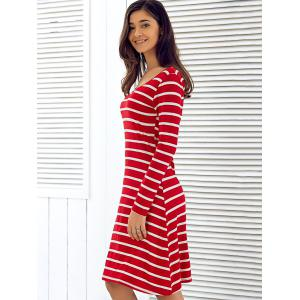 Scoop Neck Long Sleeve Striped Dress - RED L