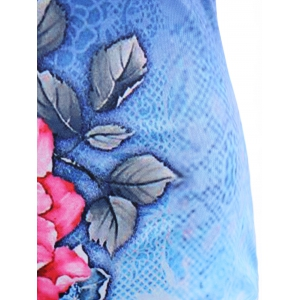 Cape Sleeve Tie Dye Floral Print Fitted Dress - DEEP BLUE 2XL