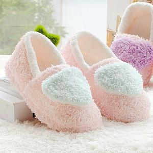 Couleur Bloc cardiaque Motif Cotton House Slippers -