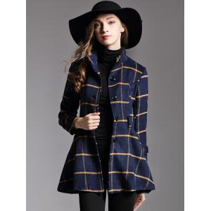Button Down Belted Plaid Coat -