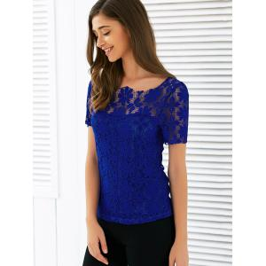Scalloped Neck See Through Lace Blouse -