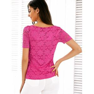 Scalloped Neck See Through Lace Blouse - ROSE RED 4XL