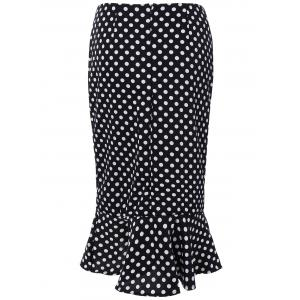 High Waisted Polka Dot Mermaid Skirt -