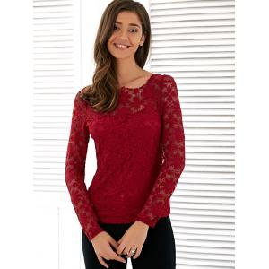 Long Sleeve See Through Lace Blouse -