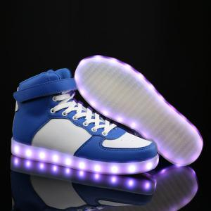Colour Block Lights Up Led Luminous Casual Shoes - BLUE AND WHITE 43
