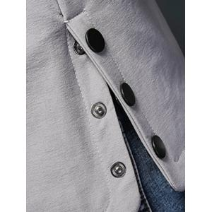 Manteau Patch design Zippered Snap bouton Hooded -